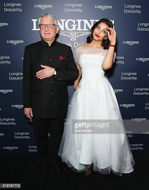 Claude Jaunin and Aishwarya Rai Bachchan attend the Longines DolceVita Asia Pacific launch at Museum of Contemporary Art on April 8 2016 in Sydney...