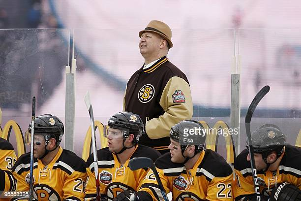 Claude Julien Head Coach of the Boston Bruins looks on from the bench during the game against the Philadelphia Flyers during the 2010 Bridgestone...