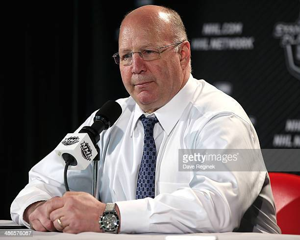 Claude Julien of the Boston Bruins addresses the media after Game Four of the First Round of the 2014 Stanley Cup Playoffs against the Detroit Red...