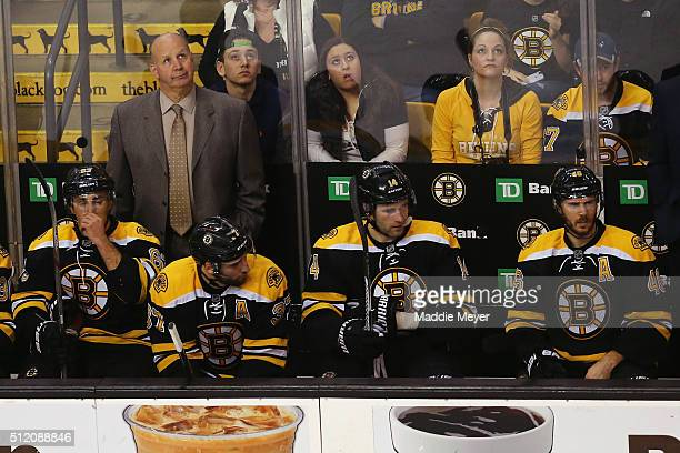 Claude Julien of the Boston Bruins looks on during the first peirod at TD Garden on February 22 2016 in Boston Massachusetts
