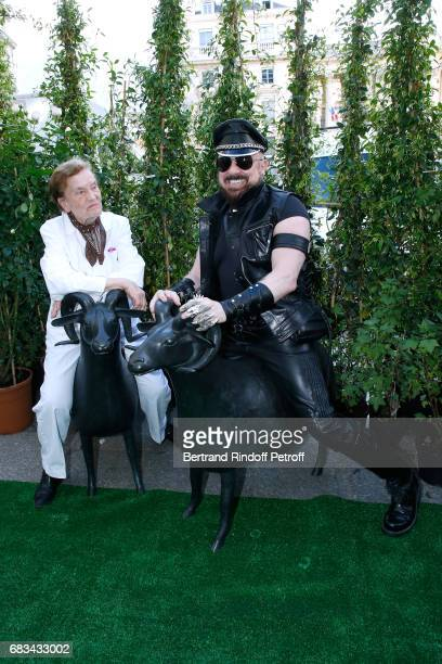 Claude Lalanne and Peter Marino attend the 'The Garden of Peter Marino' Book Signing at 'Moulie Flowers' on May 15 2017 in Paris France Preface of...