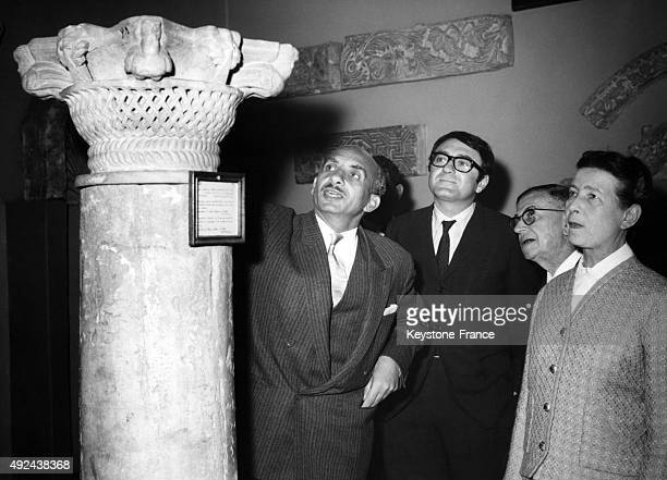 Claude Lanzmann JeanPaul Sartre and Simone de Beauvoir visiting the Coptic Museum in Cairo 1967 in Cairo Egypt