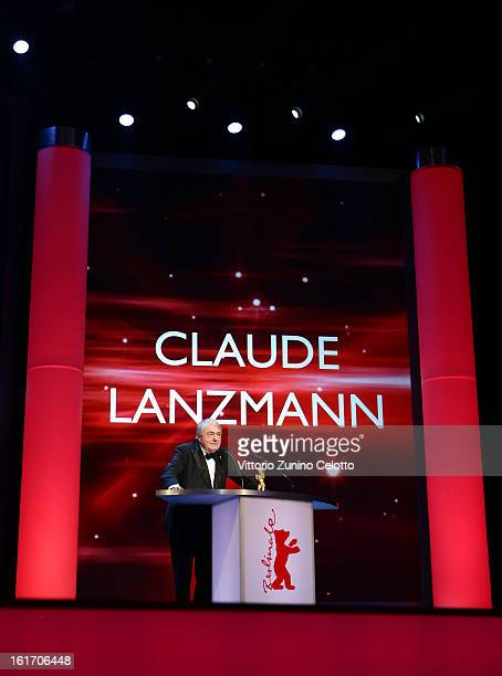 Claude Lanzmann speaks onstage as he receives the Golden Honorary Bear Award during the 63rd Berlinale International Film Festival at Berlinale...