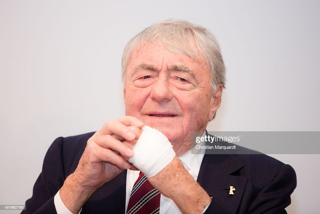 Claude Lanzmann talks during the press conferenz on November 24, 2013 in Berlin, Germany.