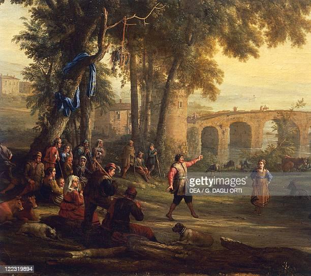 Claude Le Lorraine Country Festival oil on canvas 103x135 cm Detail