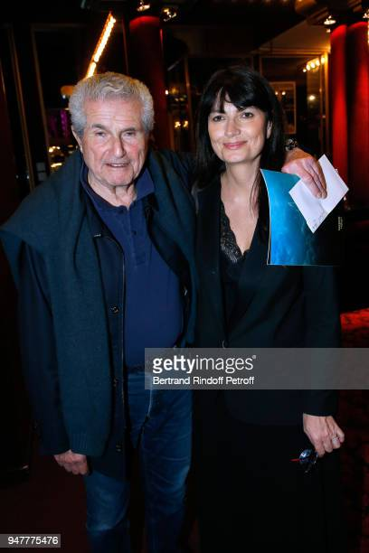 Claude Lelouch and his companion Valerie Perrin attend the 'Patrick et ses Fantomes' Theater Play at Casino de Paris on April 17 2018 in Paris France