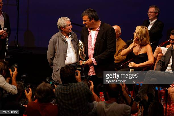 Claude lelouch and Sacha Wolff attends 9th Angouleme FrenchSpeaking Film Festival Closing Ceremony on August 28 2016 in Angouleme France