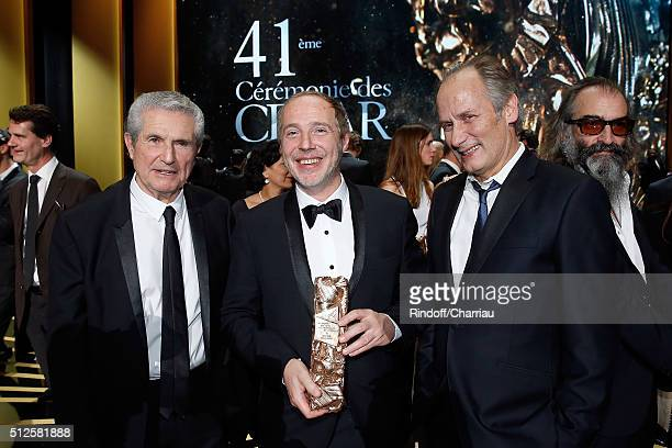 Claude Lelouch Arnaud Desplechin and Hyppolite Girardot attend the Cesar Film Award 2016 at Theatre du Chatelet on February 26 2016 in Paris France