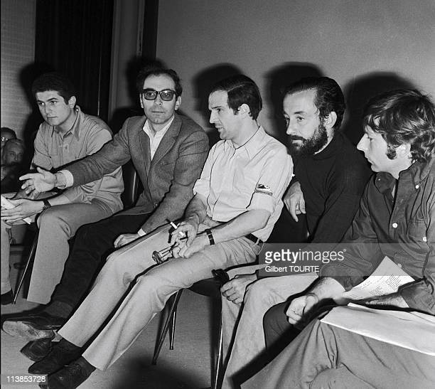 Claude Lelouch JeanLuc Godard Francois Truffaut Louis Malle Roman Polanski at Press conference during Cannes Film Festival in 1968