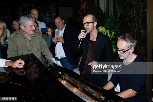 Claude Lelouch listens to Calogero and Vincent Delerm who wrote a song especially for him during Claude Lelouch celebrates his 80th Birthday at...