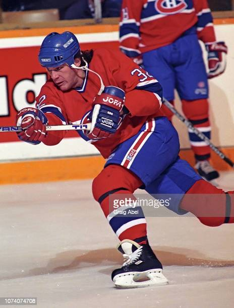 Claude Lemieux of the Montreal Canadiens skates against the Toronto Maple Leafs during NHL game action on January 27 1990 at Maple Leaf Gardens in...