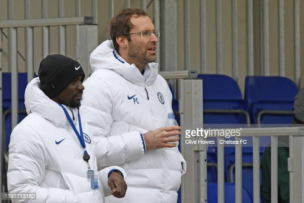 Claude Makelele and Peta Cech of Chelsea watch the Chelsea FC v Arsenal FC Premier League U18 match at Chelsea Training Ground on January 4, 2020 in...
