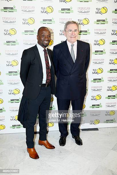 Claude Makelele and President of GDFSUEZ Gerard Mestrallet attend the 'Sport Citoyen' Diner at UNESCO on April 8 2015 in Paris France