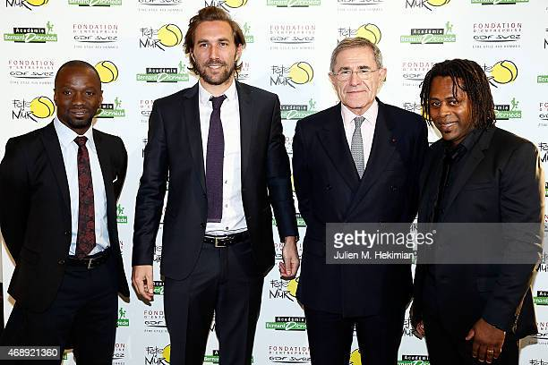 Claude Makelele Arnaud Di Pasquale President of GDFSUEZ Gerard Mestrallet and Bernard Diomede attend the 'Sport Citoyen' Diner at UNESCO on April 8...