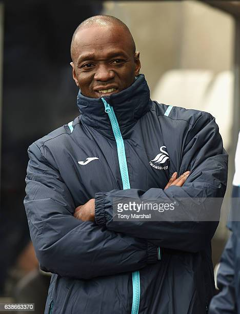Claude Makelele Assistant Coach of Swansea City during the Premier League match between Swansea City and Arsenal at Liberty Stadium on January 14...