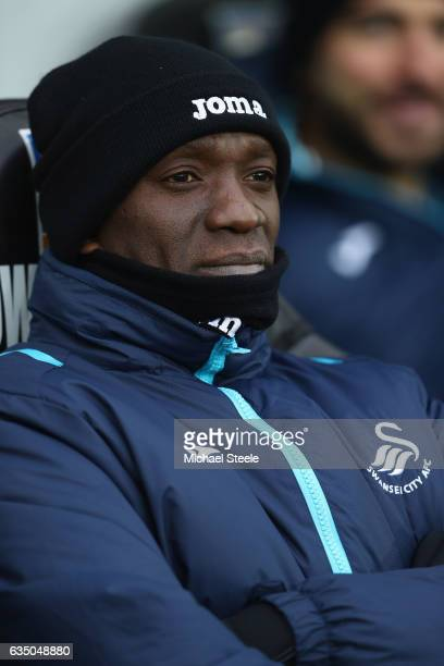 Claude Makelele assistant coach of Swansea City looks on during the Premier League match between Swansea City and Leicester City at Liberty Stadium...