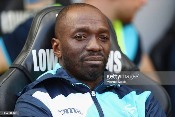 Claude Makelele assistant coach of Swansea City looks on from the sideline during the Premier League match between Swansea City and Middlesbrough at...