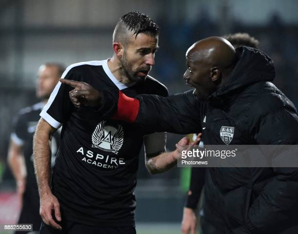 Claude Makelele Head Coach of Eupen and Luis Garcia Fernandez forward of Eupen pictured during the Jupiler Pro League match between Kas Eupen and...