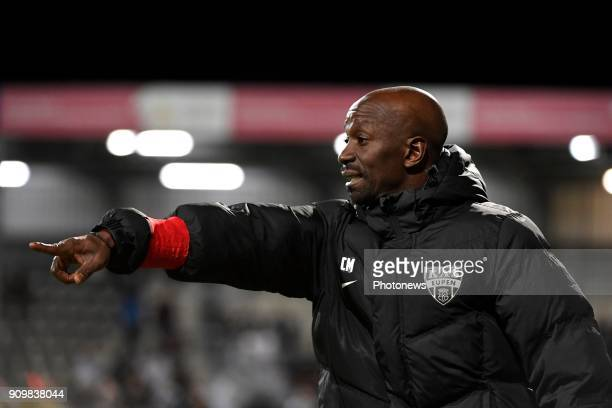 Claude Makelele Head Coach of Eupen gestures pictured during the Jupiler Pro League match between Kas Eupen and Charleroi on January 24 2018 in Eupen...