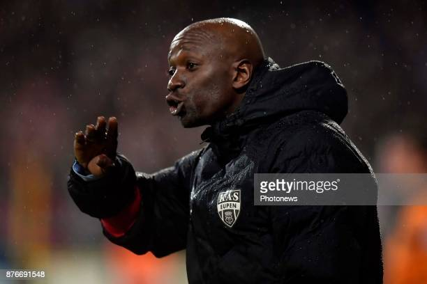 Claude Makelele Head Coach of Eupen issues instructions during the Jupiler Pro League match between KAS Eupen and Royal Antwerp FC on November 18...
