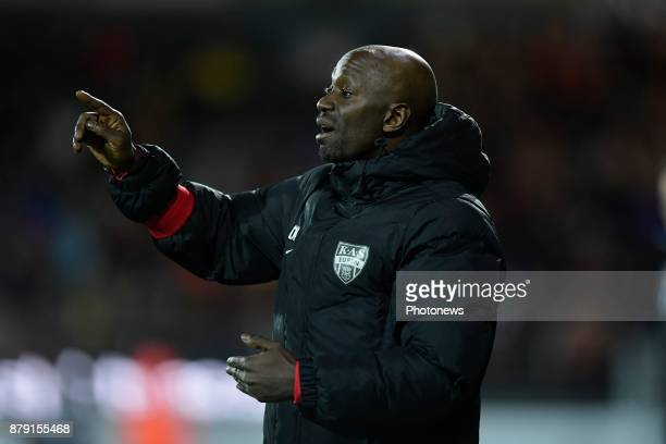 Claude Makelele Head Coach of Eupen issues instructions to his players during the Jupiler Pro League match between KV Oostende and KAS Eupen at the...