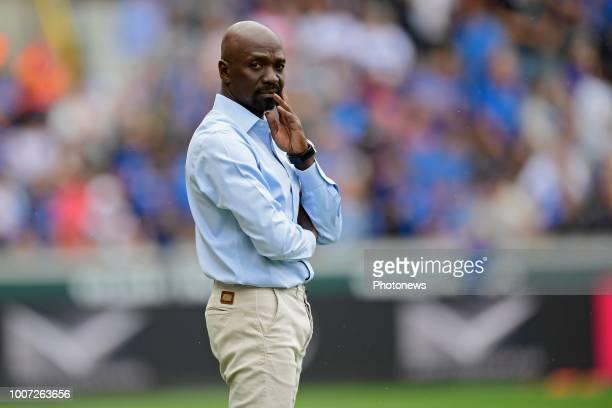 Claude Makelele Head Coach of Eupen looks indignant during the Jupiler Pro League match between Club Brugge and KAS Eupen at the Jan Breydel stadium...