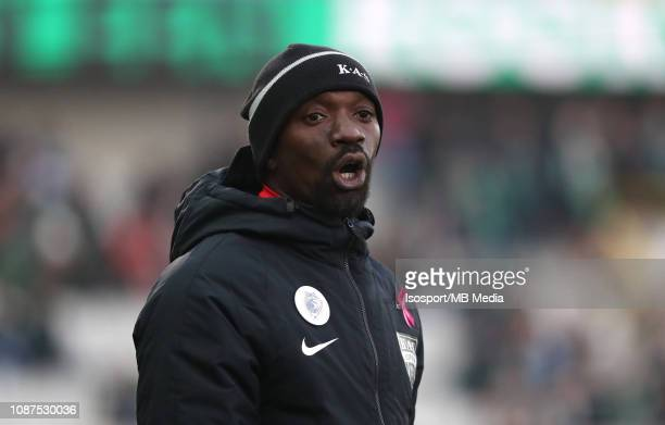 Claude Makelele head coach of Kas Eupen reacts during the Jupiler Pro League match between Cercle Brugge KSV and KAS Eupen at Jan Breydel Stadium on...