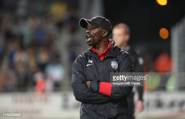 Claude Makelele head coach of Kas Eupen reacts during the Jupiler Pro League playoff 2 group A match between Kas Eupen and Stvv on April 20 2019 in...