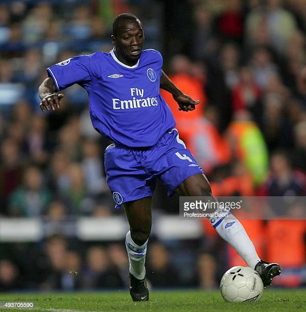 Claude Makelele in action for Chelsea during the UEFA Champions League semifinal first leg match between Chelsea and Liverpool at Stamford Bridge on...