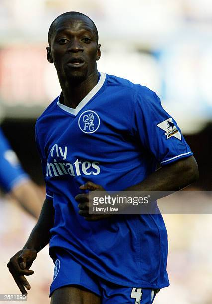 Claude Makelele of Chelsea in action during the FA Barclaycard Premiership match between Chelsea and Tottenham Hotspur on September 13 2003 at...