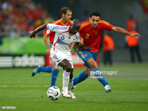 Claude Makelele of France and Xavi of Spain in action during the FIFA World Cup Round of Sixteen at the Stadium in Hanover on June 27th 2006 France...