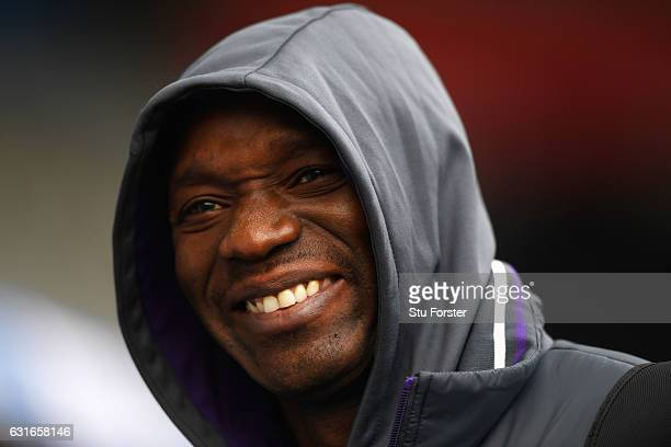 Claude Makelele Swansea City assistant manager arrives at the stadium prior to the Premier League match between Swansea City and Arsenal at Liberty...