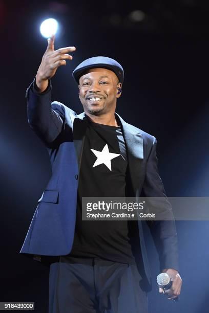 Claude MBarali aka MC Solaar performs during the 33rd 'Les Victoires De La Musique' at La Seine Musicale on February 9 2018 in BoulogneBillancourt...