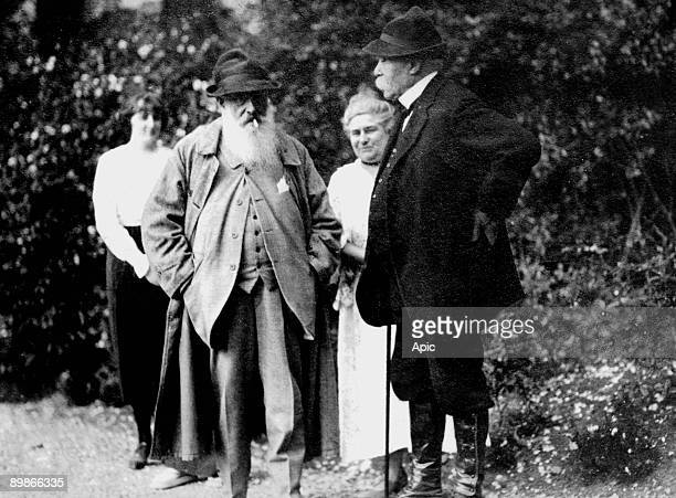 Claude Monet and his daughter Blanche Hoschede with Georges Clemenceau in Giverny c 1921