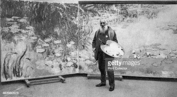 Claude Monet French Impressionist painter 1923 Monet in front of one of the vast canvases of the waterlilies in his garden at Giverny that he painted...
