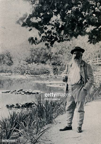 'Claude Monet Giverny' 1905 Claude Monet French Impressionist painter Monet in his garden at Giverny where he painted in the last years of his life...