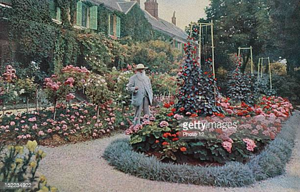 France Claude Monet in the garden of his house at Giverny