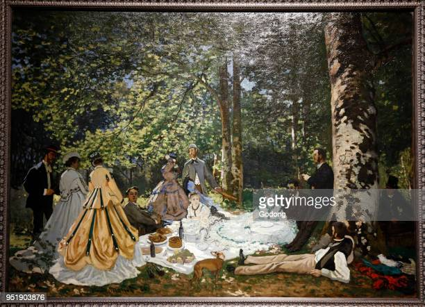 Claude Monet Luncheon on the grass oil on canvas Shchukin Collection Pushkin Fine Art Museum Moskow Shot while exhibited in Paris France