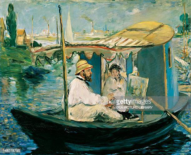 Claude Monet painting on his boat by Edouard Manet oil on canvas 82x100 cm Monaco Neue Pinakothek