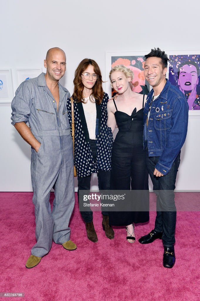 Claude Morais; Abigail Spencer, Sarah Brown and Brian Wolk at 'Pinkie Swear' Makeup Collective Celebrates Launch With Special Exhibition 'Drawn In: Beauty Illustration in the Digital World' Curated by Sarah Brown at Wilding Cran Gallery on August 15, 2017 in Los Angeles, California.
