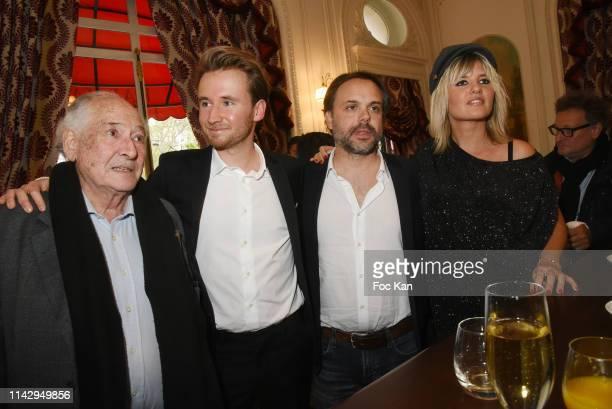 "Claude Pierre Bloch, writer Bastien Kossek, Romain Sardou and singer Kym Thiriot attend ""Sardou Regards"" Bastien Kossek's Book Launch at Hotel..."