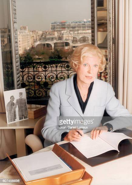 Claude Pompidou widow of former French President Georges Pompidou at home
