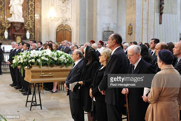 Claude Pompidou's funeral In Paris France On July 06 2007French former President Jacques Chirac his wife Bernadette and members of Pompidou Family...