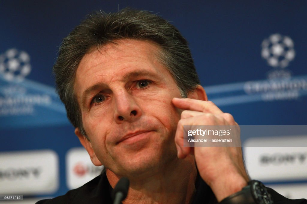 Claude Puel, head coach of Olympic Lyon looks during a press conference on April 20, 2010 in Munich, Germany. Olympic Lyon will play against Bayern Muenchen at the UEFA Champions League semi final first leg match on April 21.