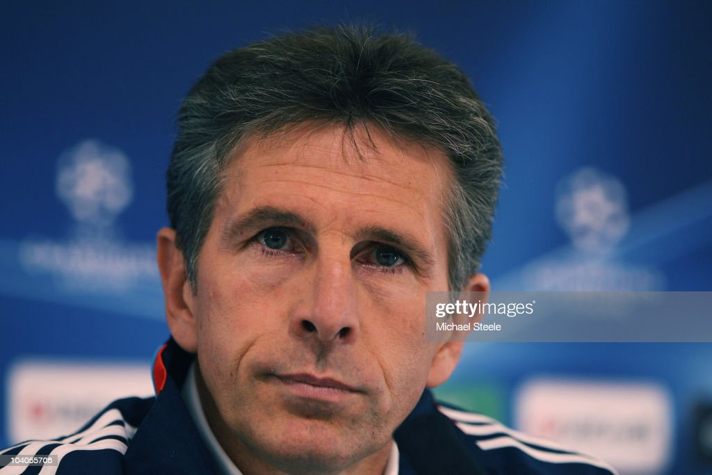 Claude Puel head coach of Olympique Lyon attends the Lyon Press Conference, ahead of their Group B UEFA Champions League first phase match against Schalke 04, at Stade de Gerland on September 13, 2010 in Lyon, France.