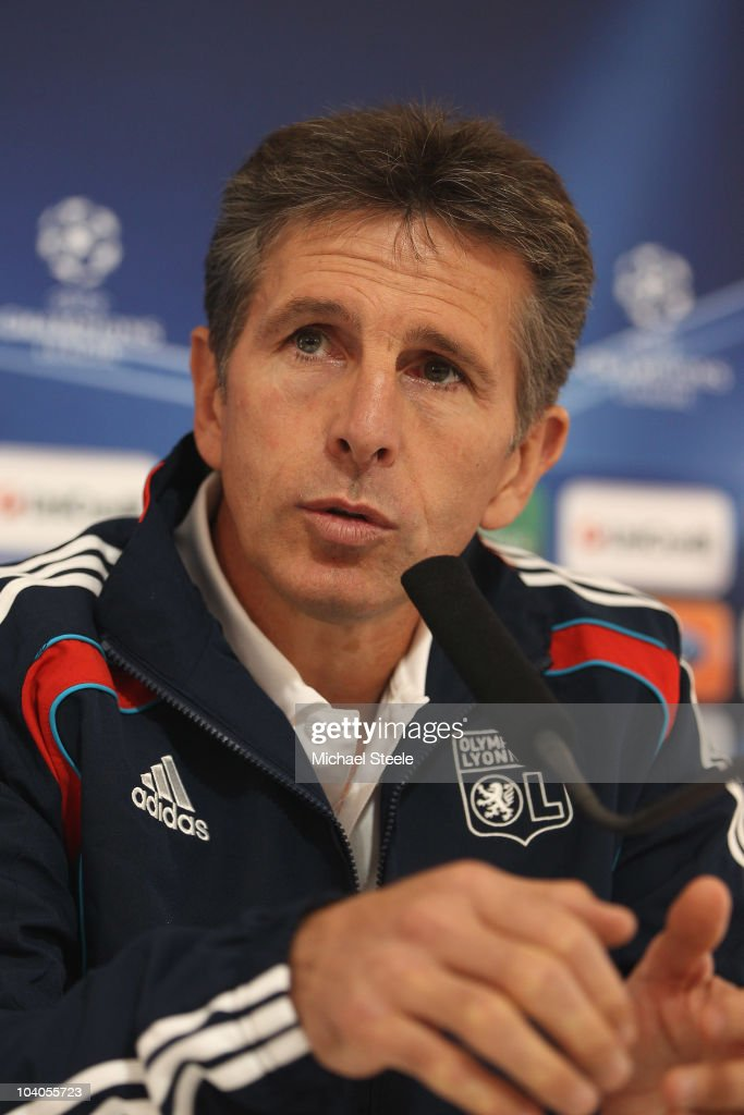 Claude Puel head coach of Olympique Lyon speaks during the Lyon Press Conference, ahead of their Group B UEFA Champions League first phase match against Schalke 04, at Stade de Gerland on September 13, 2010 in Lyon, France.