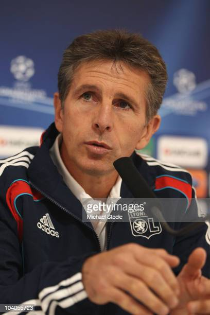 Claude Puel head coach of Olympique Lyon speaks during the Lyon Press Conference, ahead of their Group B UEFA Champions League first phase match...