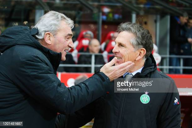 Claude PUEL headcoach of of SaintEtienne and Yvon LE ROUX of Brest during the Ligue 1 match between Brest and SaintEteinne at Stade Francis Le Ble on...