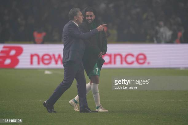 Claude PUEL Headcoach of Saint Etienne and Ryad BOUDEBOUZ of Saint Etienne during the Ligue 1 match between Nantes and Saint Etienne at Stade de la...