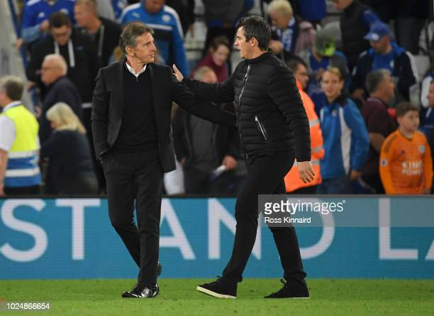 Claude Puel Manager of Leicester City and Joey Barton Manager of Fleetwood Town speak after the Carabao Cup Second Round match between Leicester City...